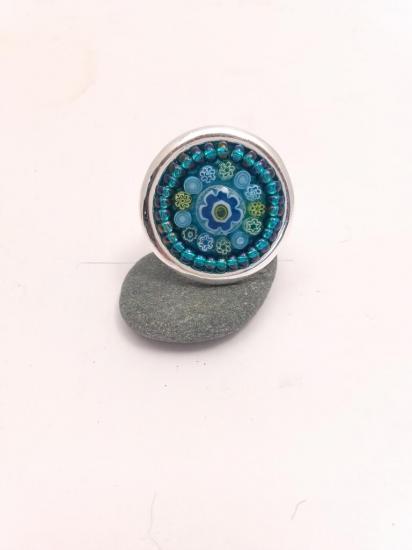 Bague bleue turquoise en millefiori et perles de verre