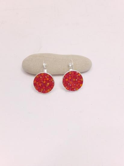 Boucle d'oreille orange en millefiori et perles de verre
